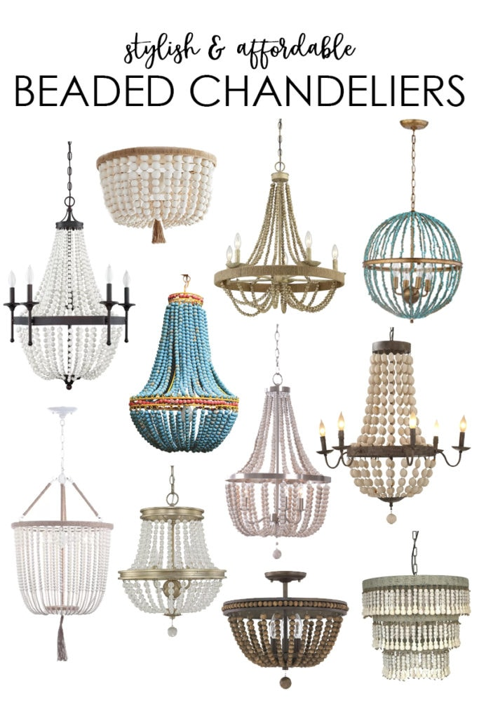 A collection of stylish and affordable beaded chandeliers. Love the various options of wood beads, crystal beads, turquoise beads, and more!