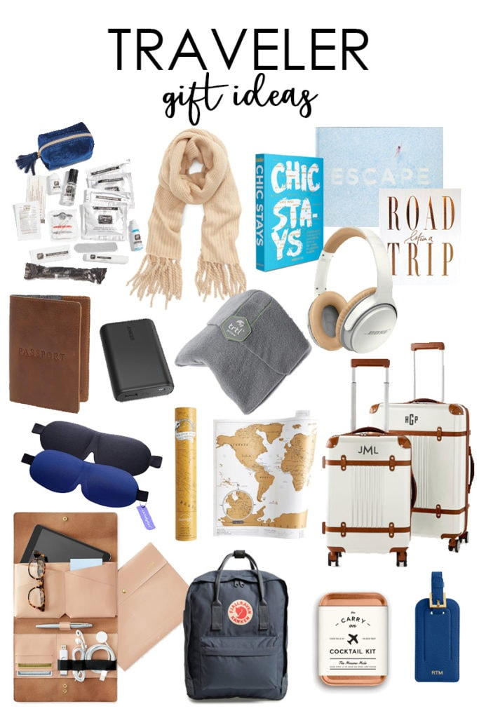 A curated collection of traveler gift ideas for the seasoned jetsetter poster.