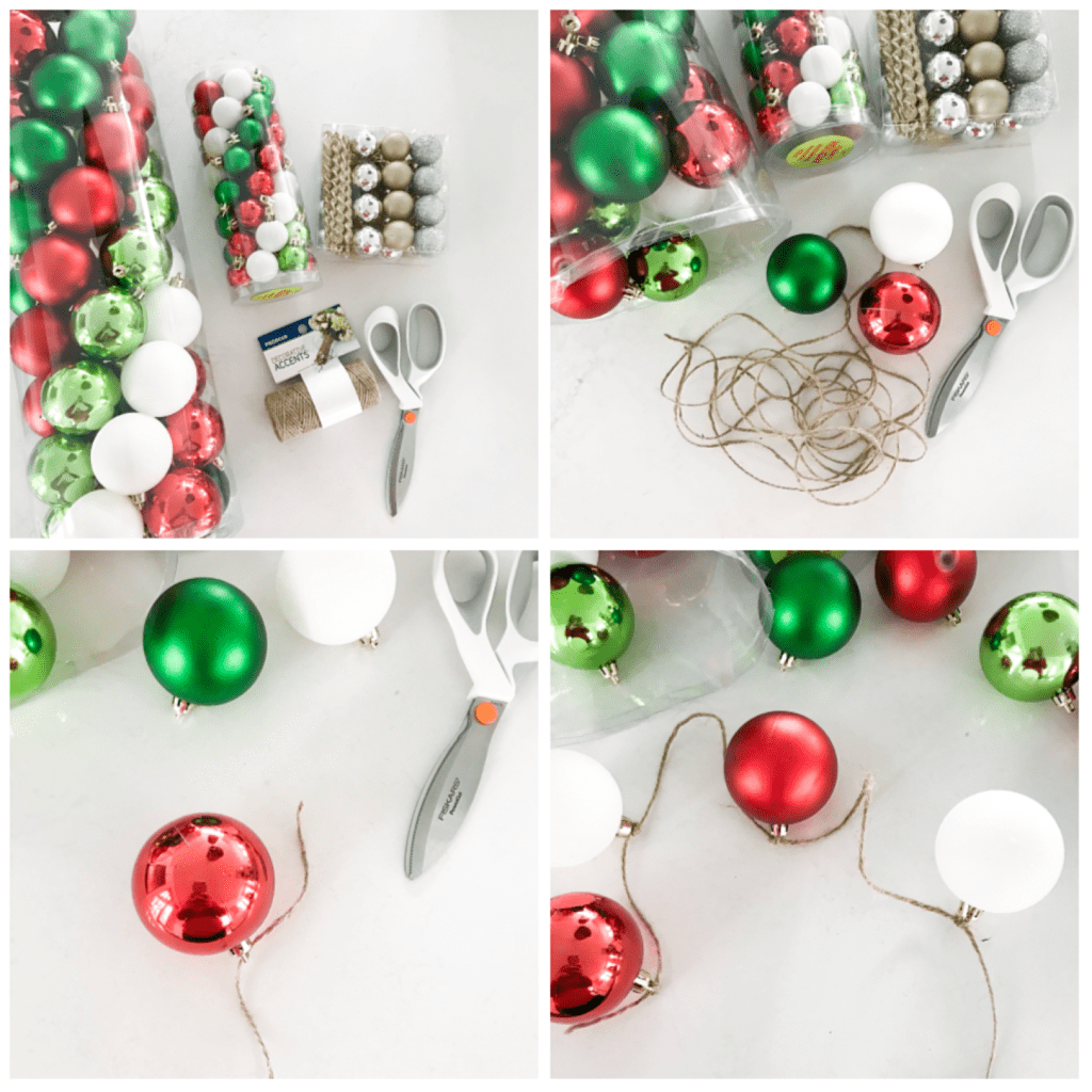 Supplies and tutorial for making a DIY Christmas ornament garland.