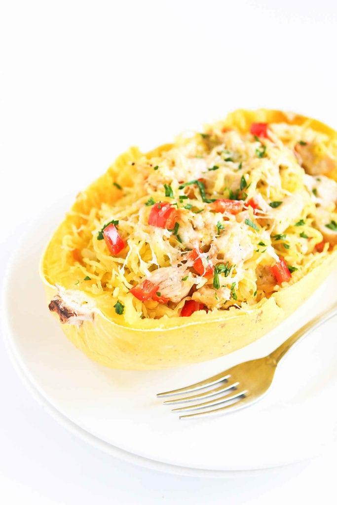 Pesto Chicken Stuffed Spaghetti Squash Recipe.