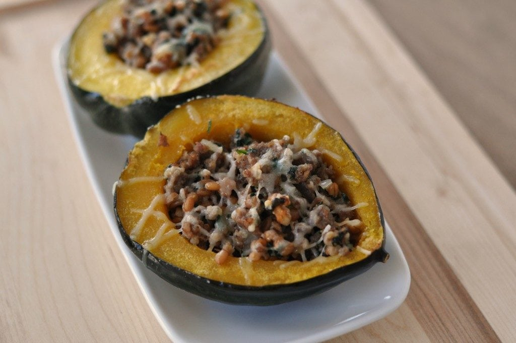 Sausage and spinach baked stuffed squash.