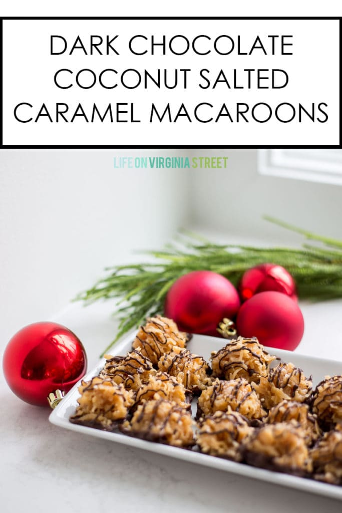 This dark chocolate coconut salted caramel macaroons recipe is not only easy, but also no-bake! This sweet and salty treat is perfect for the holidays and Christmas cookie exchanges!