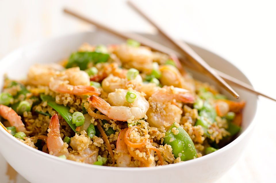 Light Shrimp Fried Quinoa