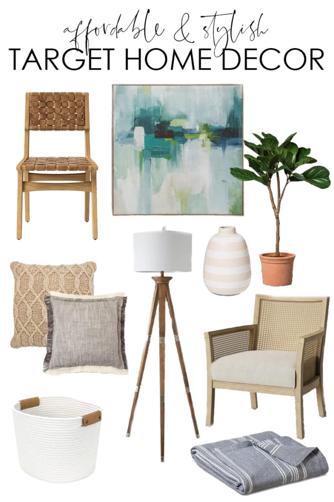 A collection of 25+ affordable and stylish home decor from Target. So many great items like chairs, rugs, throw pillows, blankets, fig trees, and more!