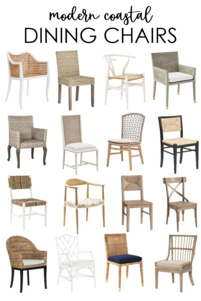 A collection of beautiful modern coastal dining chairs for all budgets and design styles!