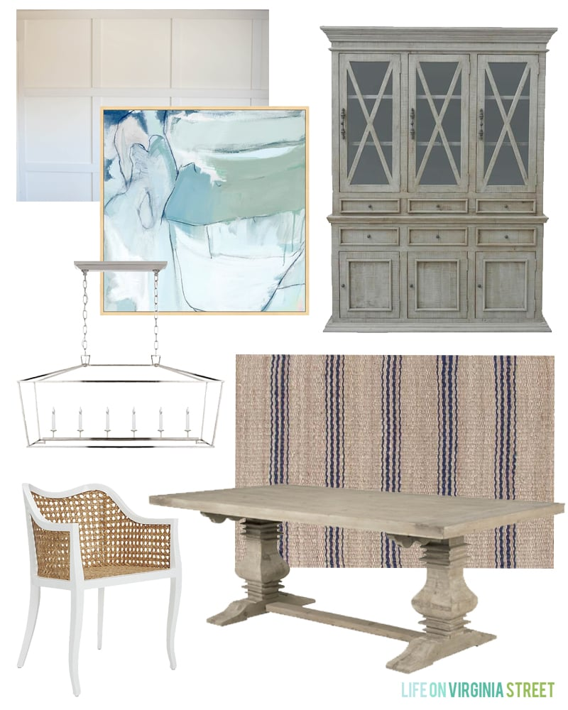 A modern coastal dining room design board featuring blue and green abstract art, white board and batten walls, a reclaimed wood hutch, Darlana linear pendant, navy blue striped rug, white and cane modern coastal dining chairs, and a wood table.