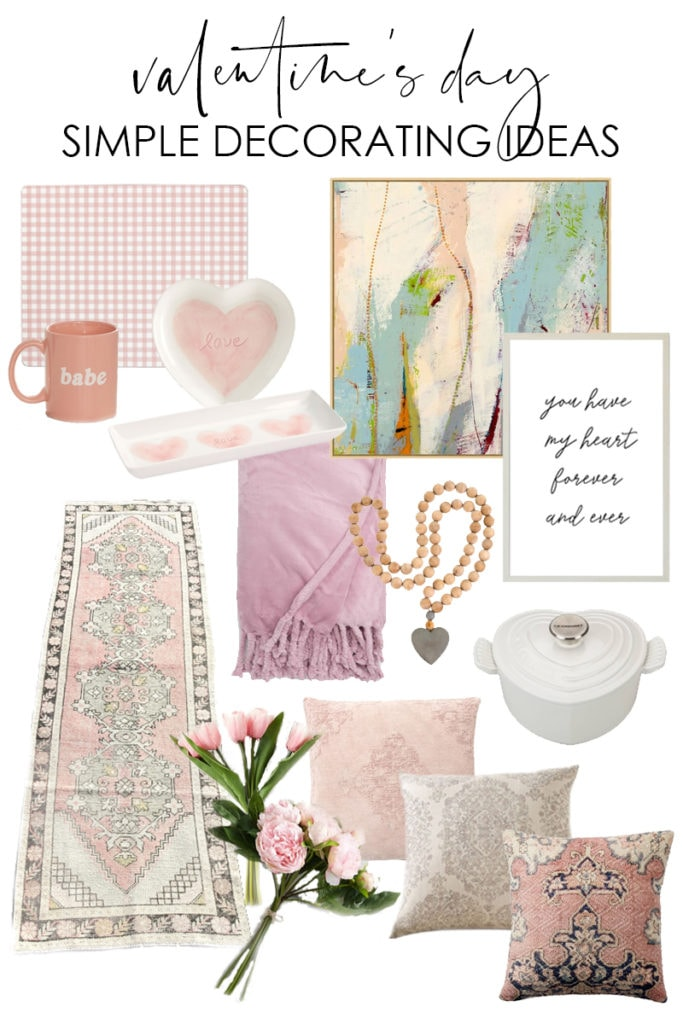 A collection of stylish and simple Valentine's Day decorating ideas that will carry you well into spring! From the pink vintage runner rug, to the wood bead heart garland, to the pink abstract art, these pieces are timeless and classic!