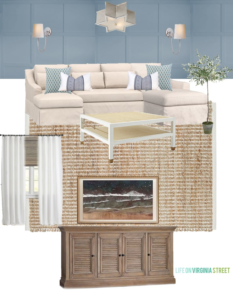 A den design board with blue gray walls, a Pottery Barn linen sectional, jute rug, wood TV stand, olive tree and blue, white and green accents. Also includes details as to why we purchase a Pottery Barn sectional over other brands.