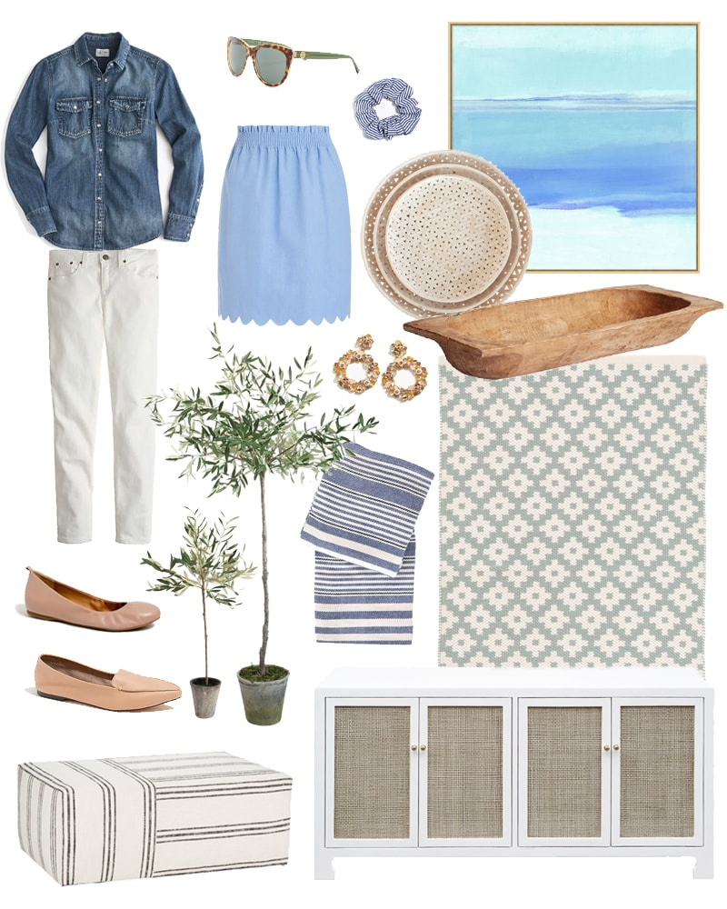 A collection of the best Presidents' Day Weekend sales along with a beautifully curated list of women's clothing and home decor. I love the blue abstract art, white and cane console table, faux olive trees, and blue scalloped skirt!