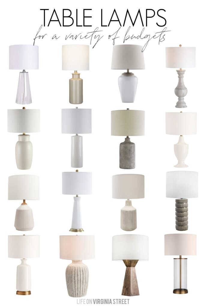A collection of stylish table lamps for all budgets! These traditional and transitional lamps are perfect for so many decorating styles!