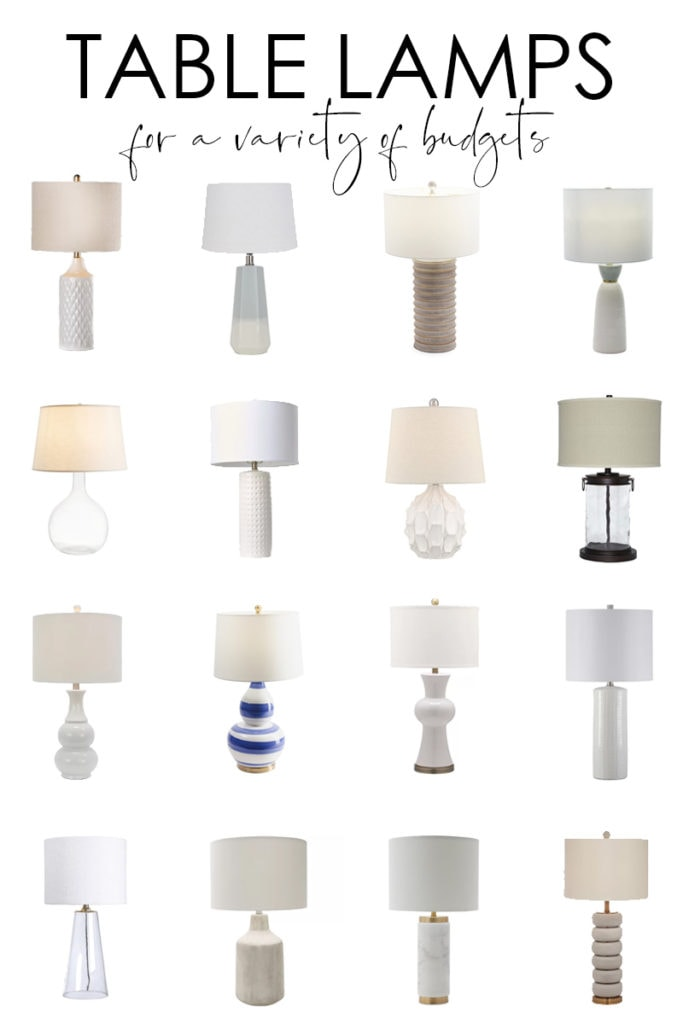 A beautifully curated collection of stylish table lamps for all budgets! Collection are broken down by price point so it's easy to find the perfect table or bedside lamp that is perfect for your home and budget!