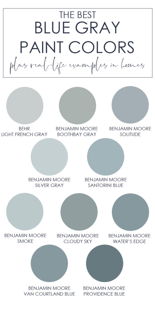 A collection of the best blue gray paint colors! The post also includes examples of these colors in real spaces so you can envision exactly how the color will look in your own home!