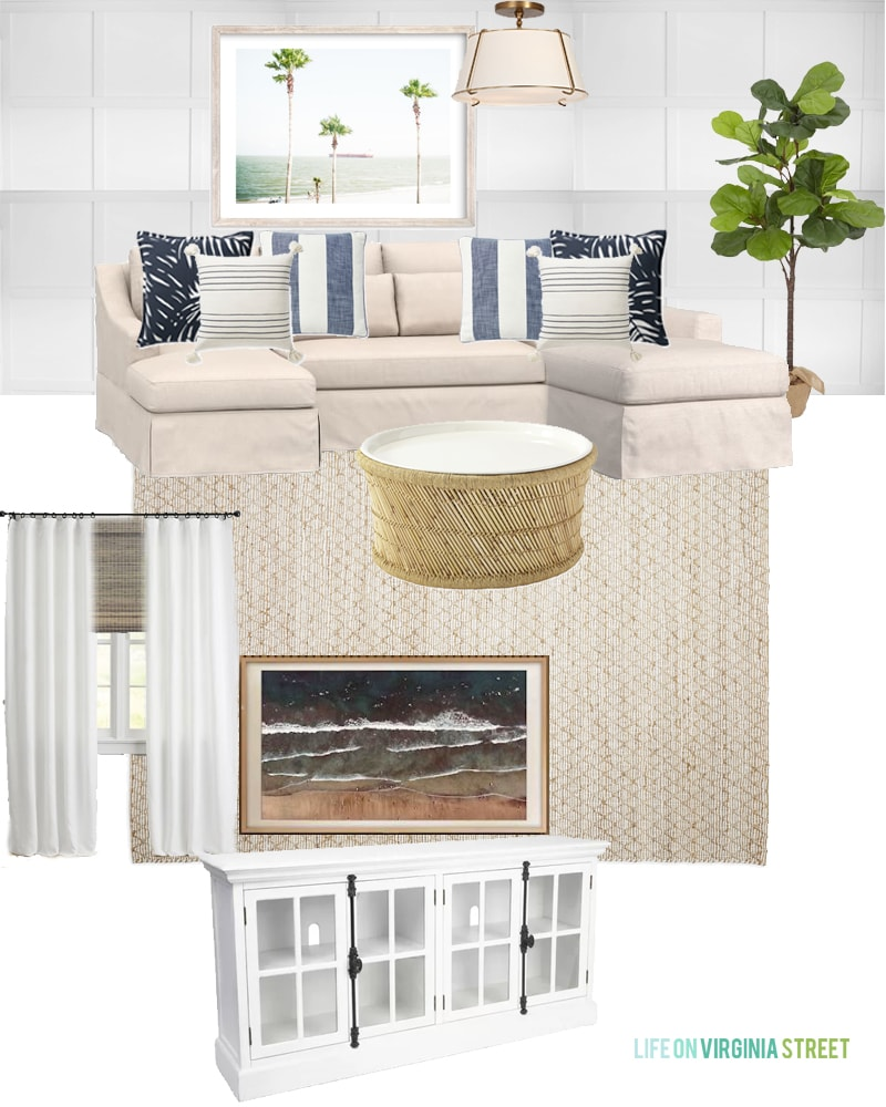 Den design plans featuring a white board and batten grid wall, a linen sectional, palm tree art, striped pillows, a bamboo and jute coffee table, natural rug, white TV stand and more! Such a beautiful coastal inspired den design plan!