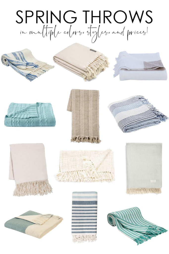 A huge collection of spring throws. They come in tons of color, style and price point options. Throws are the perfect way to inject a little spring color into your decor!