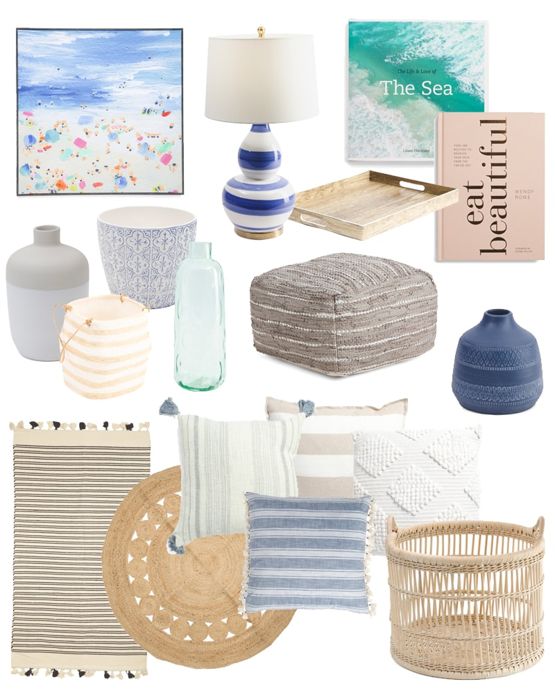 TJ Maxx home decor favorite finds. So many of these pillows, rugs, baskets, vases and art are perfect for spring and summer!
