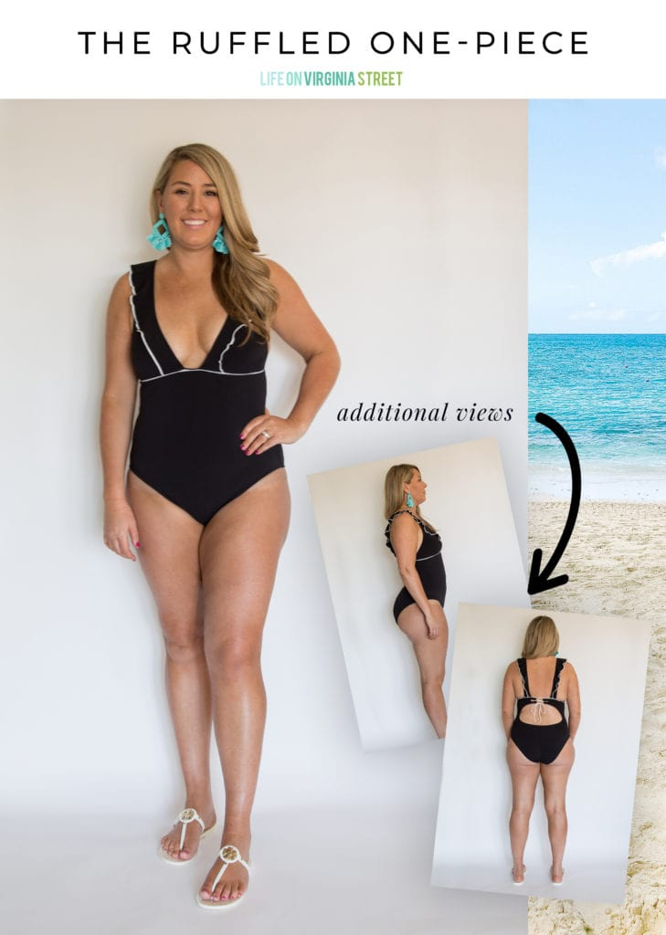 Black ruffled one-piece bathing suit that is perfect for curvy women and is a fun alternative to a bikini!
