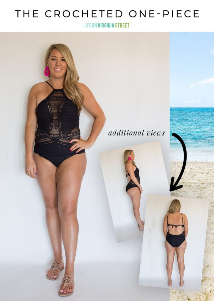 This crocheted one-piece swimsuit is one of the most popular finds out there! It give you coverage without feeling too boring!