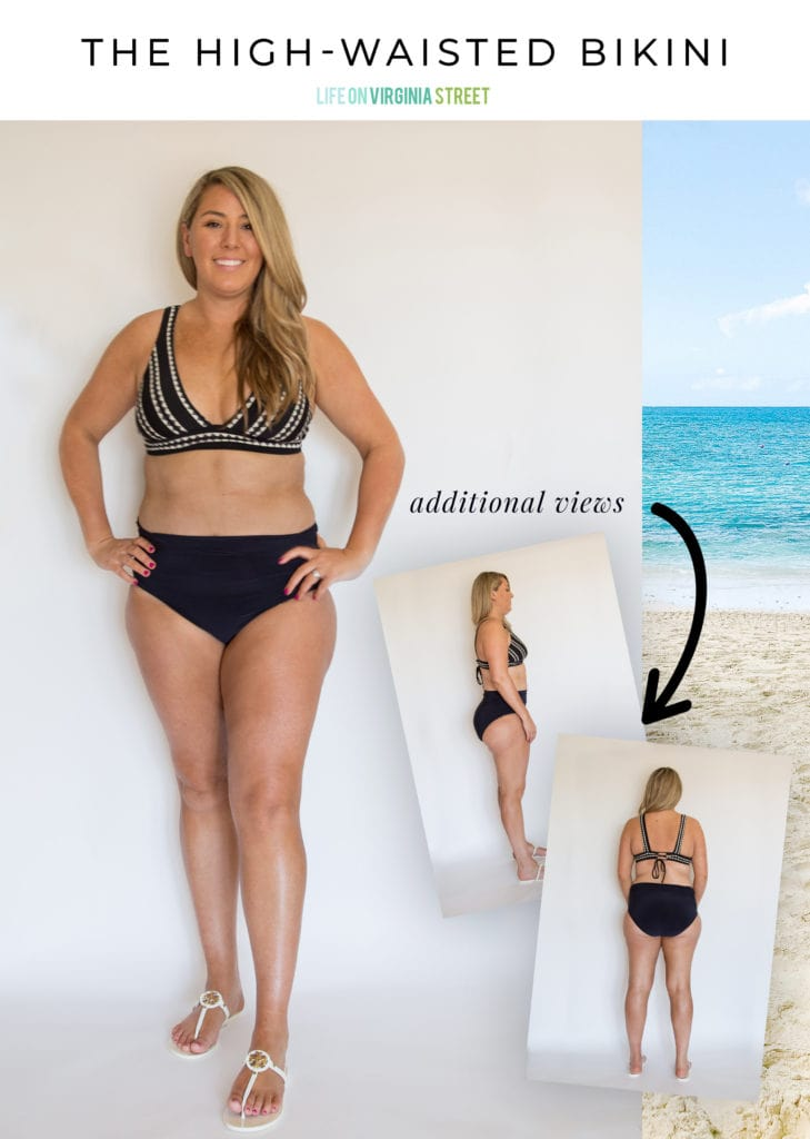 A high-waisted bikini option that works well for curvy women!