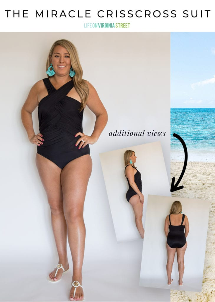 Great bathing suit ideas for curvy women! I love this flattering black crisscross Miraclesuit option!