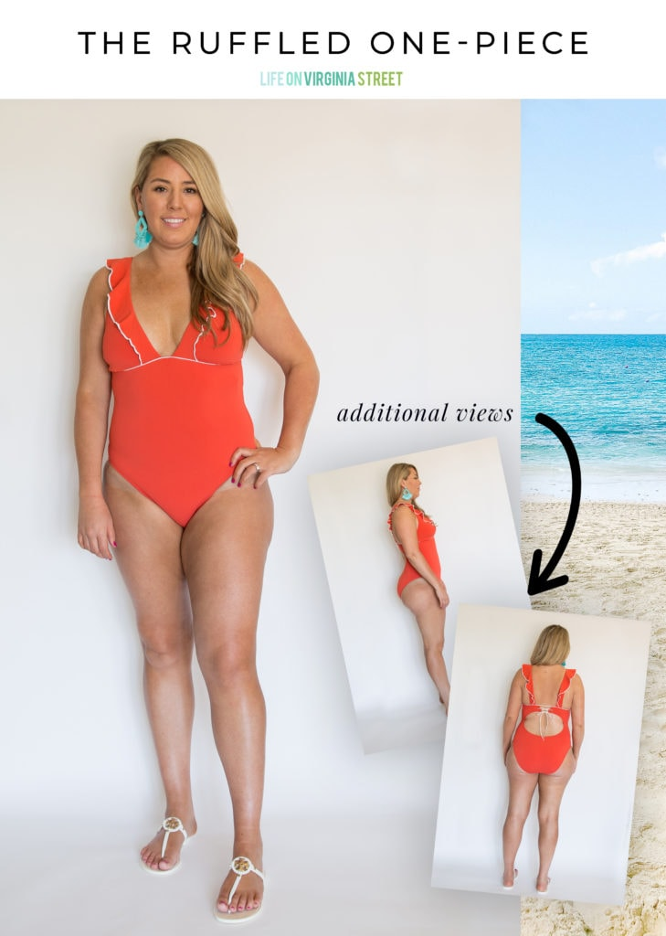 This darling red ruffled one-piece bathing suit is a the perfect swimsuit for curvy women! I love the adjustable strap option as well so it works well with long and short torsos!