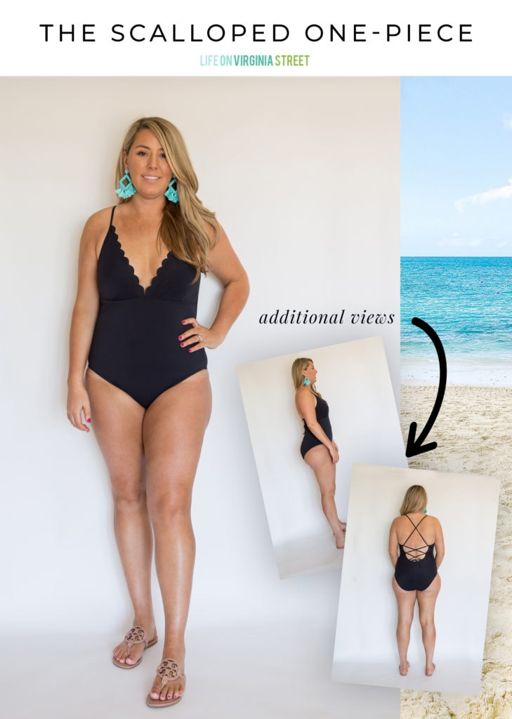 A collection of bathing suits on real-life women. The scalloped neckline on this one-piece is so cute for summer!