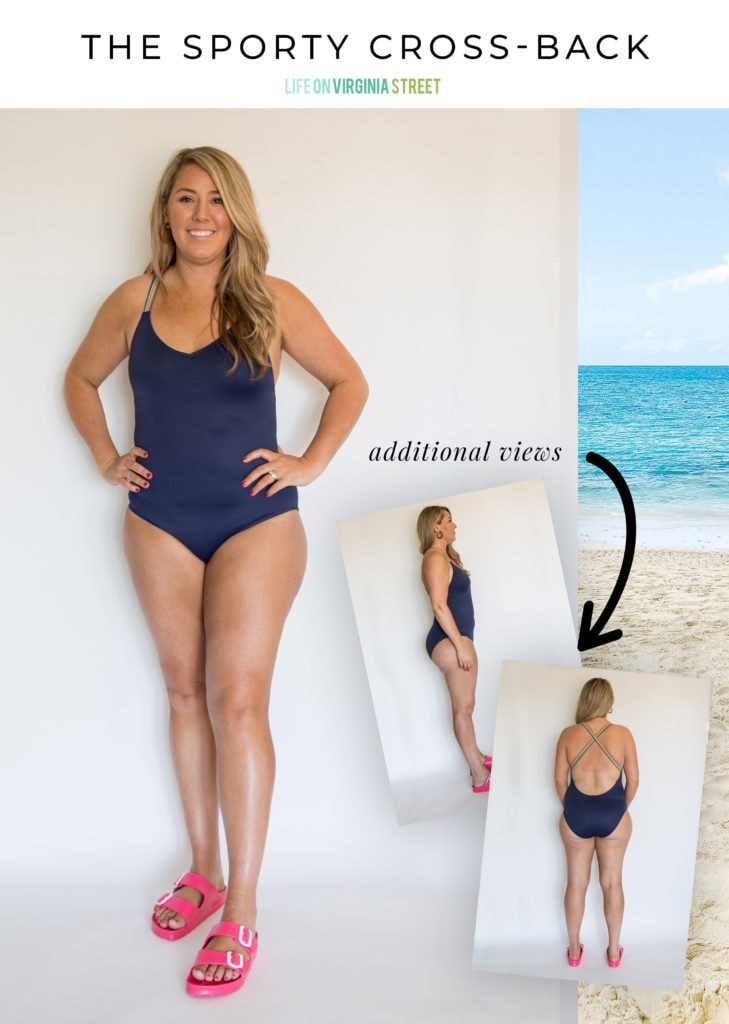 This sporty bathing suit is great for a day at the beach or those on the move!
