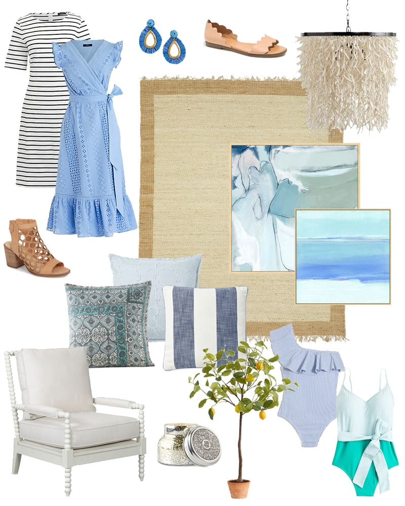 The best weekend sales for fashion and home decor! I love the coastal spring vibe of these items including the eyelet dress, striped dress, jute rug, coconut shell chandelier, faux lemon tree, spindle chair, blue abstract art and more!