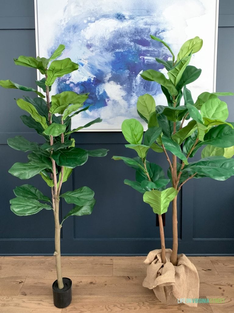 A QVC faux fiddle leaf fig tree compared to a Pottery Barn fake fiddle leaf fig tree.