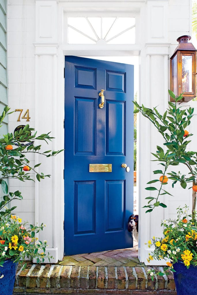 Bold Blue Door with Citrus Planters in front of it.