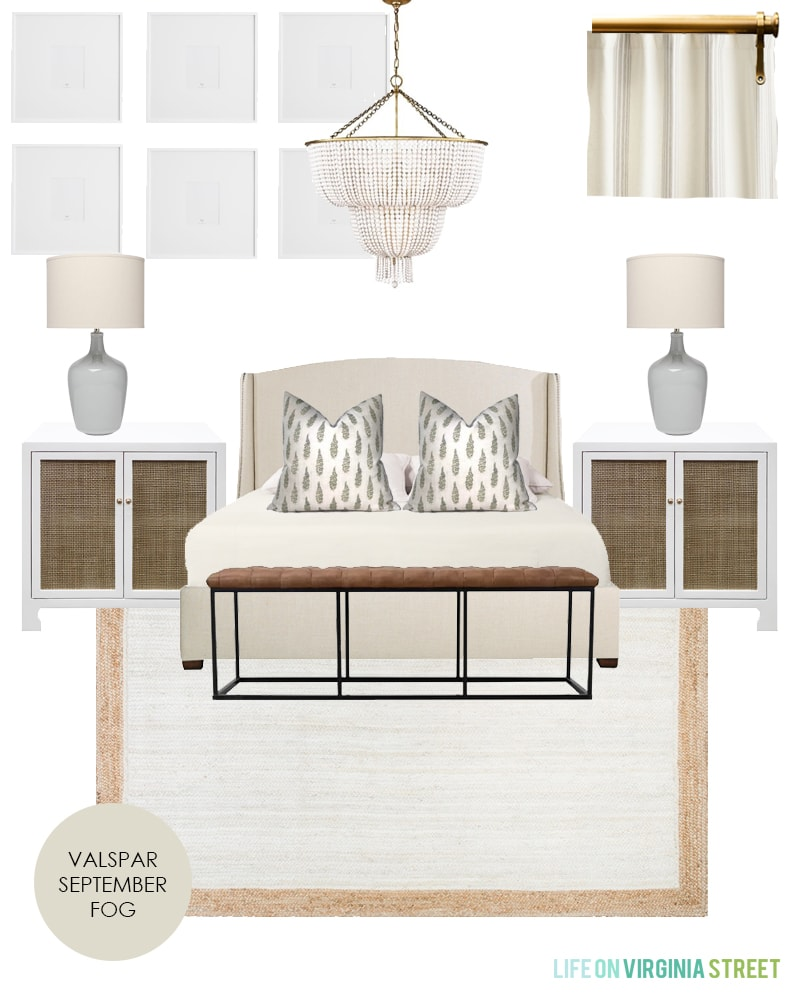 Gorgeous master bedroom design plans for a neutral bedroom with lots of texture and layers!