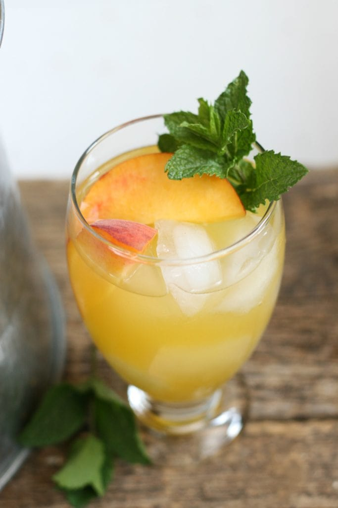 Summer Sangria with mint leaves in it.