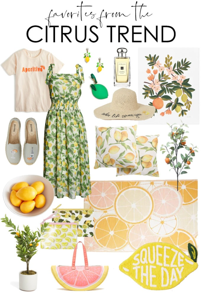 A collection of favorite home decor and fashion finds from the citrus trend! Includes lemon, orange, tangerine, grapefruit, lime (and more!) inspired decorations, dresses, accessories, clothing and more!