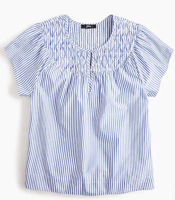 Smocked Cap-Sleeve Striped Top