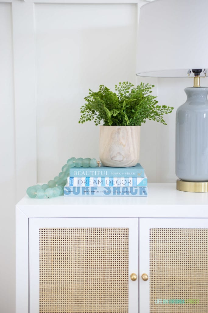 A green fern on the side table in the room.