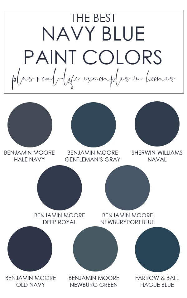 A selection of the best navy blue paint colors from a variety of paint brands. Learn the undertones of each to find which color is best for your home! Includes colors like Benjamin Moore Hale Navy, Sherwin-Williams Naval, and more!