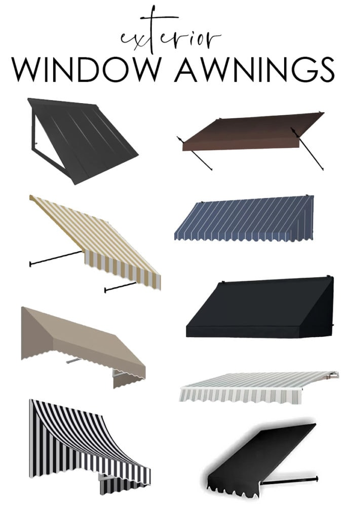 A collection of exterior window awnings that are both stylish and functional to help filter light and look great on the interior of your home!