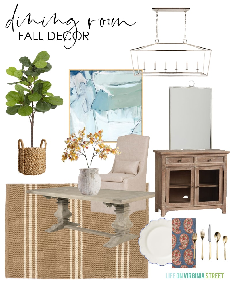A beautiful design board for a dining room decorated for fall! Used paisley napkins, faux maple stems, a natural striped rug, faux fiddle leaf fig tree, and more!