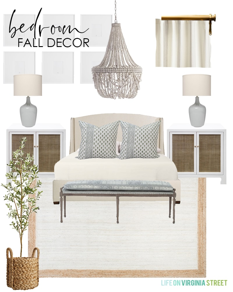 Fall bedroom decorating ideas with faux olive tree and neutral accents and natural textures.