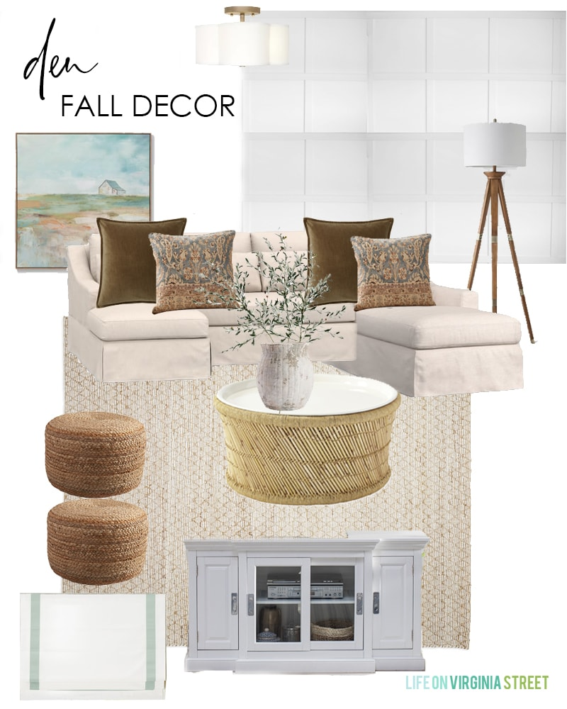 Den fall decorating ideas. I love the warm velvet pillows, abstract barn art, bamboo coffee table, faux olive stems and more!