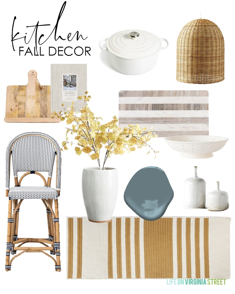 This pretty kitchen fall decor design board use neutral colors paired with gold and blue to create a warm space for autumn!