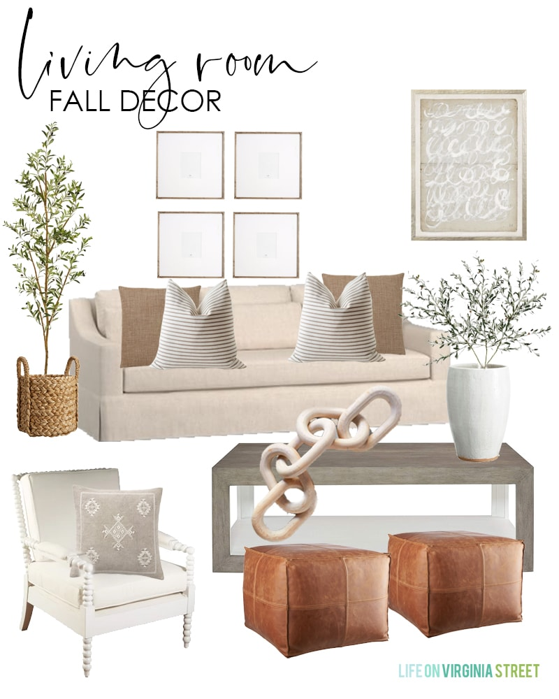 These living room fall decorating ideas are beautiful! Love the relaxed yet polished vibe of this room using a linen sofa, spindle chairs, leather poufs, faux olive tree and stems, linen pillows, striped pillow and a wood chain decor piece!