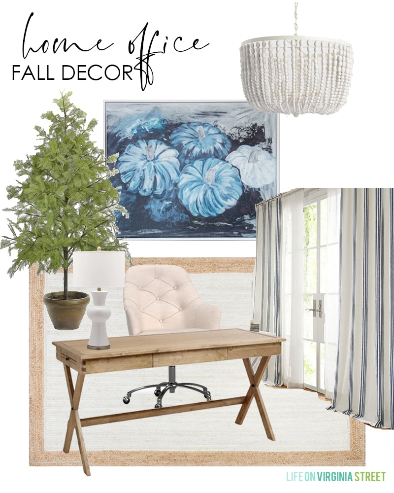 Home office fall decorating ideas. Includes blue pumpkin art and faux cypress tree.