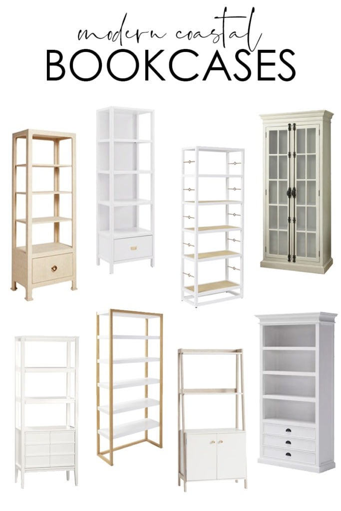 20+ modern coastal bookcase options are perfect for a variety of decorating styles! There are multiple styles, colors, heights, and price levels shows! Love the mix of white wood, driftwood, raffia covered bookcases, and more!