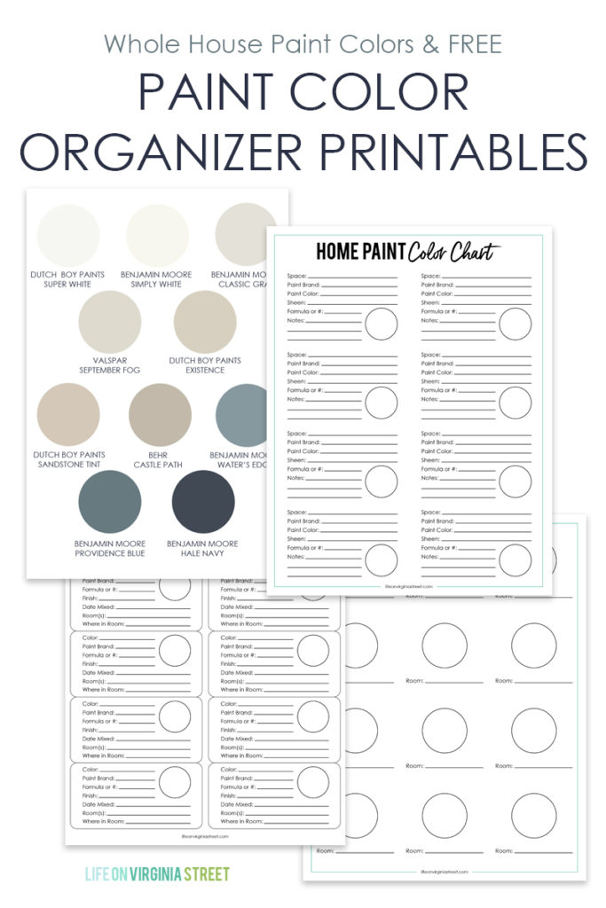 These paint color organizer printables are designed to help you keep all the paint colors in your house straight! There's a sheet to keep at home, labels for your paint cans, and a handy guide you can keep in your purse or wallet!