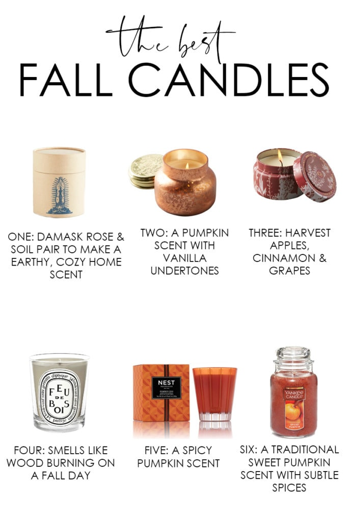 A collection of the best fall candles to make your home feel cozier this fall! Provides the exact sources and description of all the candles selected!