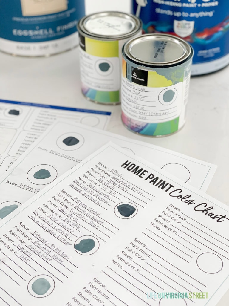 Free printables to organize your whole house paint colors!