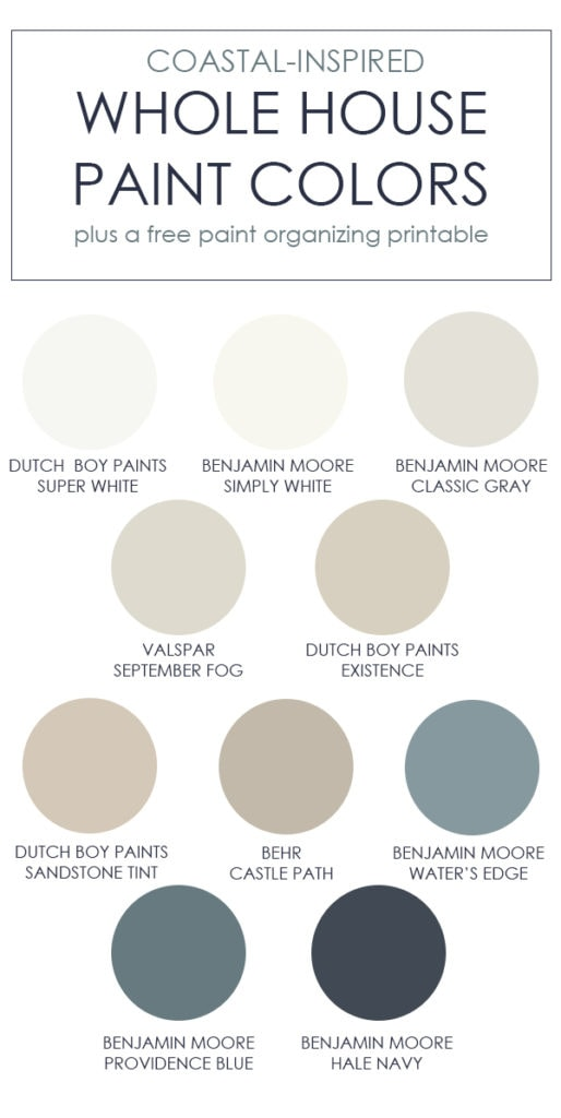 A collection of coastal inspired whole house paint colors! This post shows the colors in real spaces and also includes a free paint color organizing printable!
