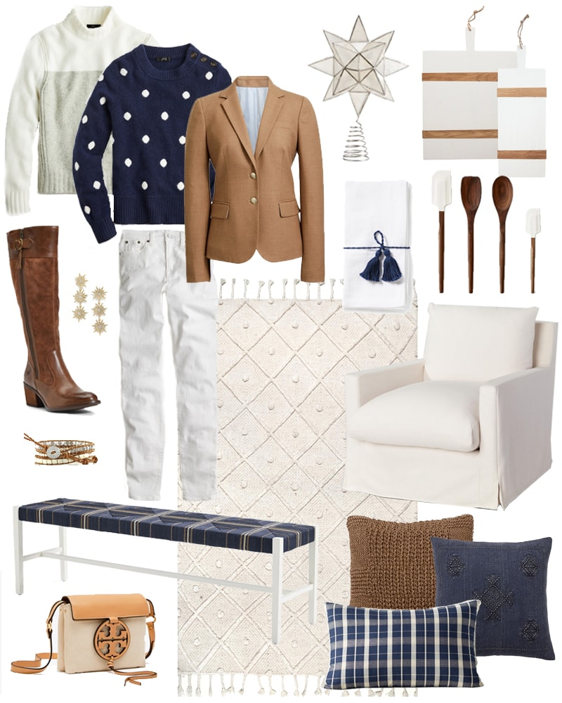 Details on all the best Columbus Day weekend sales, along with my top picks for home decor and fashion! I'm loving this navy blue, ivory and camel color combo right now for fall! Everything shown here is on sale this weekend!
