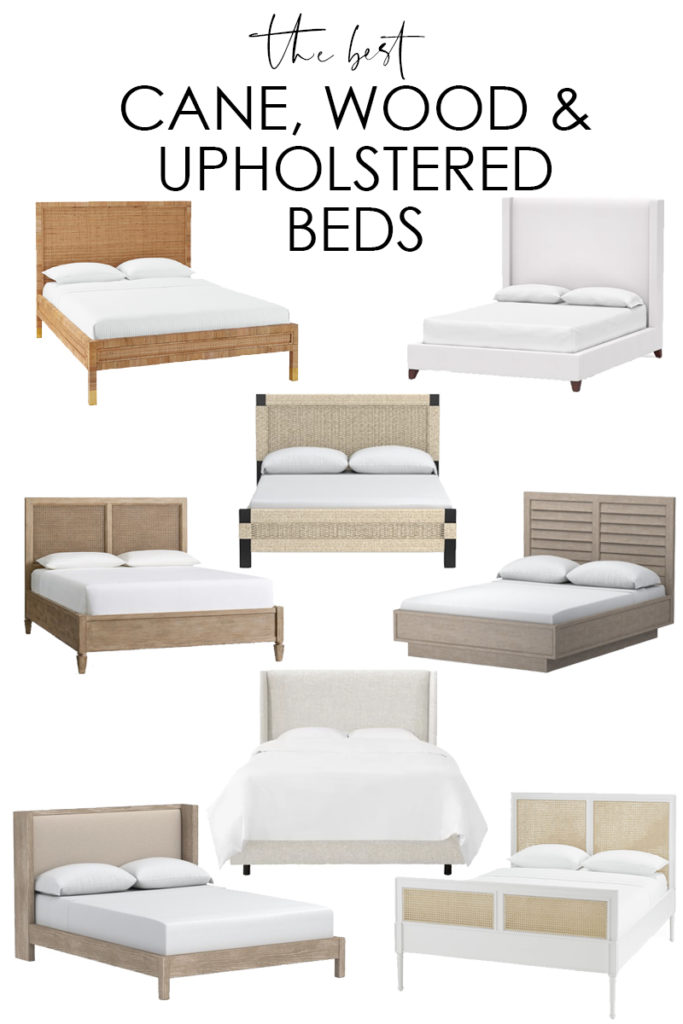 A collection of more than a dozen of the best cane, wood, jute and upholstered beds that are perfect for a master bedroom or guest room! Love these neutral and timeless options!