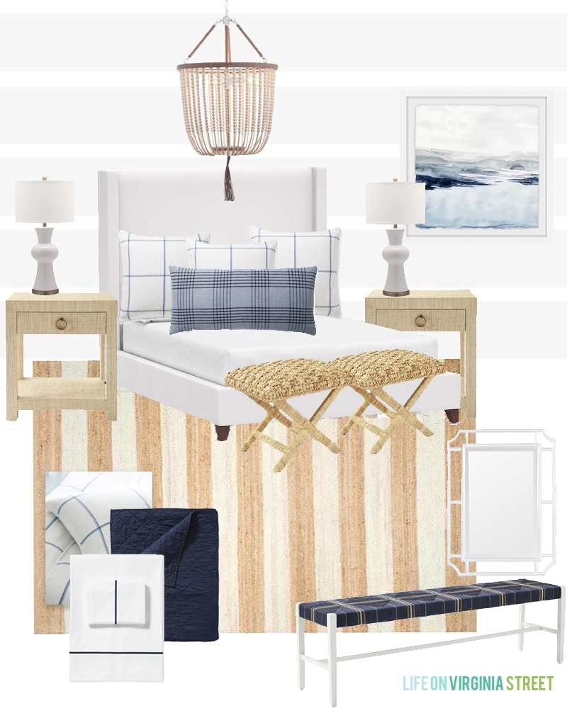 A gorgeous bedroom design board and plans to update for a chic coastal vibe! Includes a white upholstered bed, plaid pillows, a striped jute rug, white bead chandelier, and more!